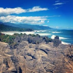 Punakaiki, Pancake Rocks Blowholes | Views down the westcoast